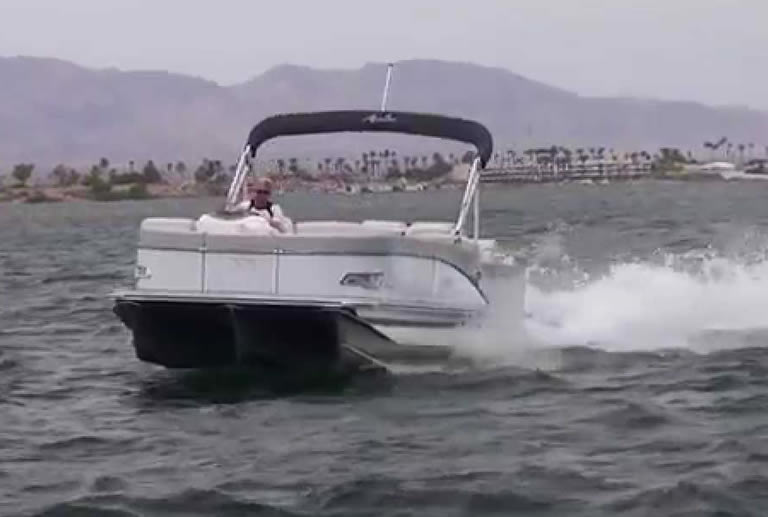 Pontoon boats in rough water