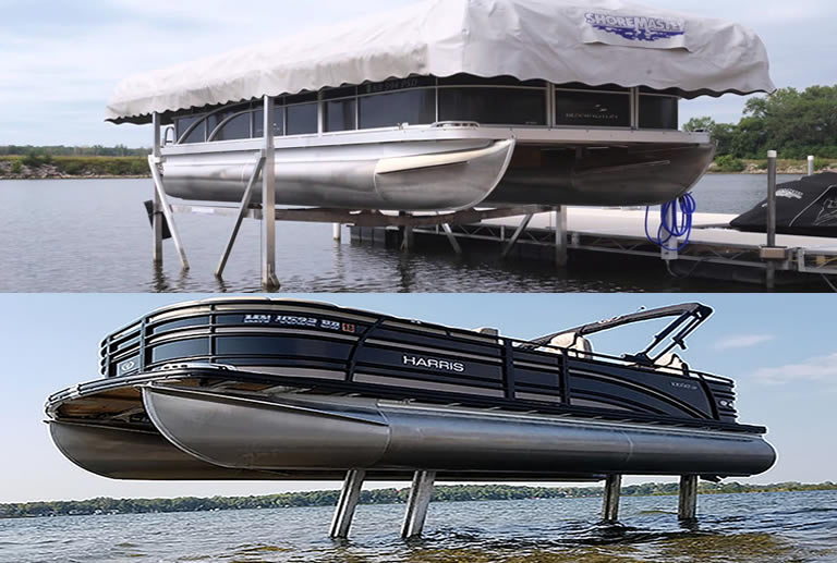 2 different types of pontoon boat lift