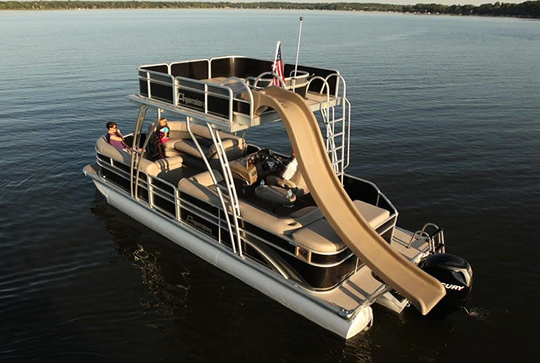 Pontoon boat floating in the water
