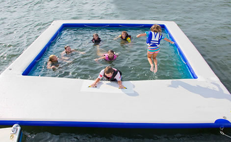 Boat pool with net
